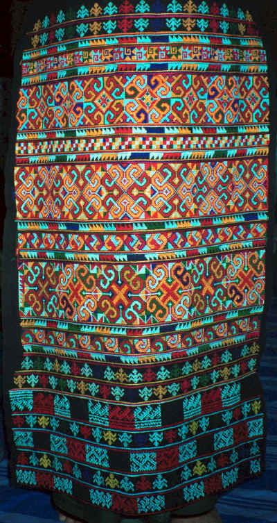 An embroidered panel for a pair of Yao women's trousers.  This was purchased in December 1988 in Chiang Mai night market from the Yao woman who had embroidered it. 8812m14.jpg
